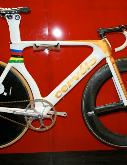 This is the bike ridden to points race gold and madison silver by Spain's Joan Llaneras.