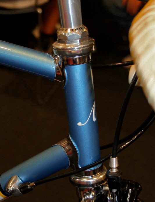 The Milani Replica has some lovely chrome detailing on the head tube lugs.