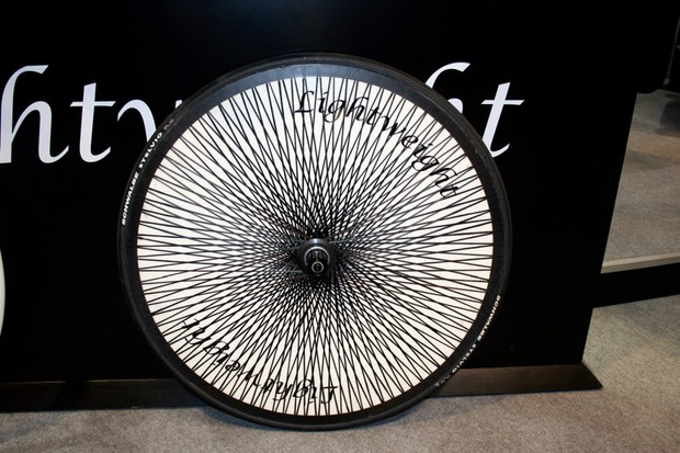 Lightweight's unmistakable disc wheel is supposedly stiffer and lighter for 2009.