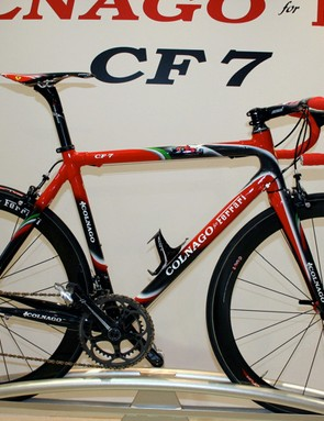 As usual, Colnago has made a limited edition Ferrari version of its top level frame.  This bike is one of only 99 available complete with Fulcrum Racing Speed wheels.