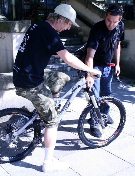 Doddy gets set for a test ride