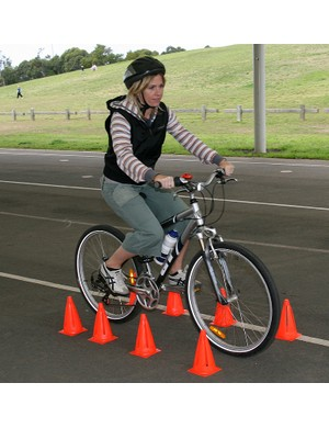 Gap squeezing. This exercise teaches riders to negotiate gaps as the lines of bollards are moved clo