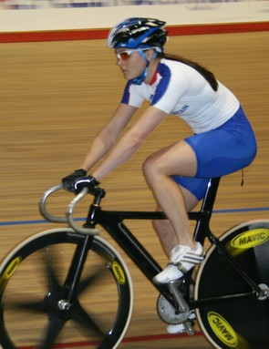 Victoria Pendleton warms down at the Newport Velodrome