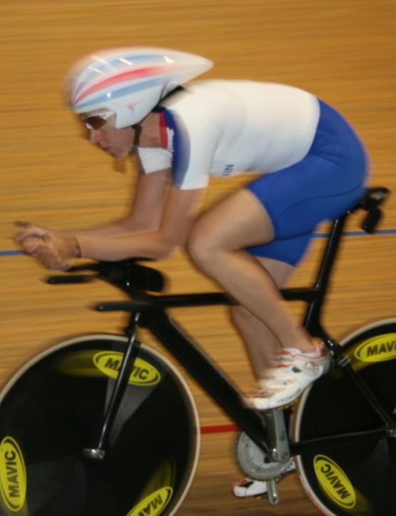 Rebecca Romero at speed during her final Beijing preparations in Newport