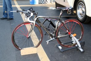 The control bike. The harpoon-like device is part of a mobile weather station