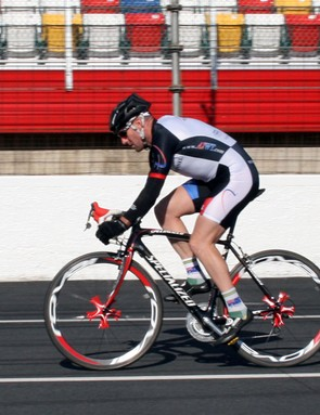 Nathan rides the Tarmac road bike on the drops with road helmet