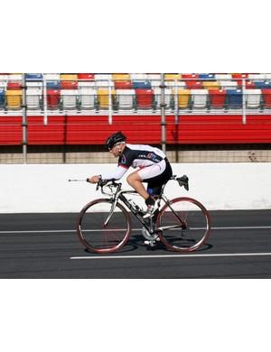 Mike Giraud on the control bike
