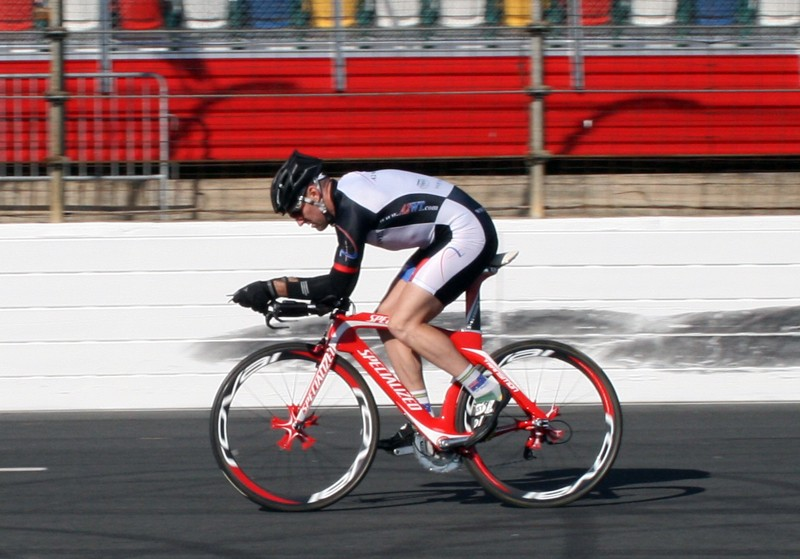 Nathan rides the Transition with road helmet
