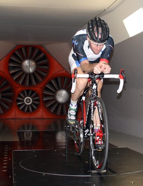 Nathan O'Neill in the tunnel on a Tarmac SL2 with clip-ons and a road helmet