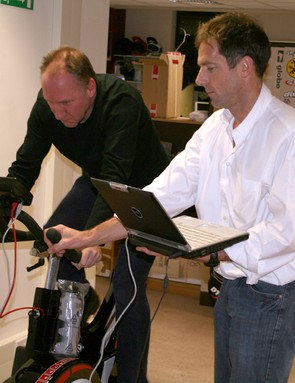 Cycling Plus's tech editor Simon 'The Animal' Withers does a peak power test, assisted by Wattbike's John Wilson