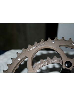 The new 11-speed chainrings have a new treatment to make them last longer.