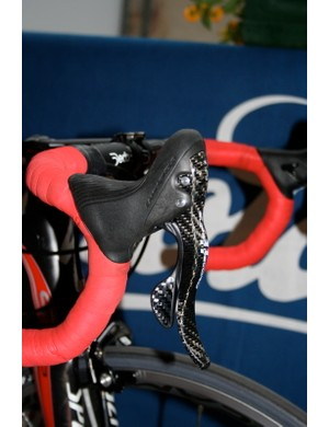 The new redesigned Ergopower lever has a much larger and more comfortable hood as well as a longer brake lever.