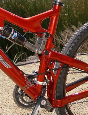 Reclocked upper and lower links reduce chain growth, improve pedaling and provide more travel.