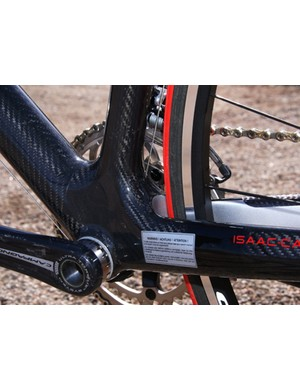 Enormous chain stays sprout from the well-reinforced bottom bracket shell.