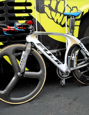 Rock Racing used this brand-new Fuji time trial machine at the Tour of Missouri.
