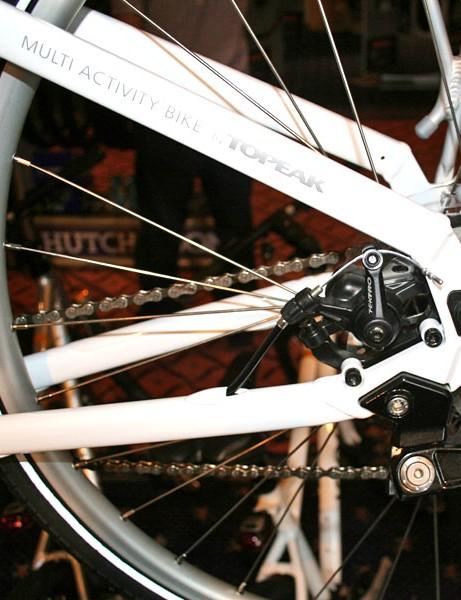 Rear disc mount accommodates a rack