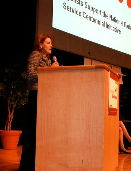 IMBA's Jenn Dice addresses state delegates March 5 in Washington DC.