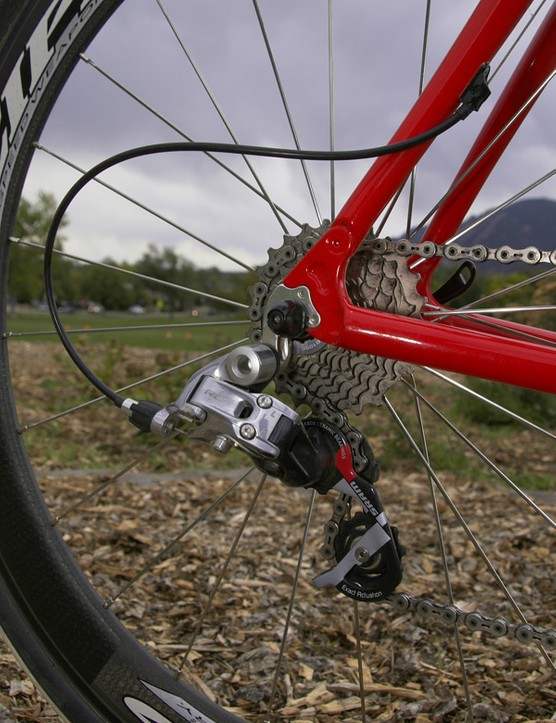 A SRAM Red rear derailleur handles gear changes out back