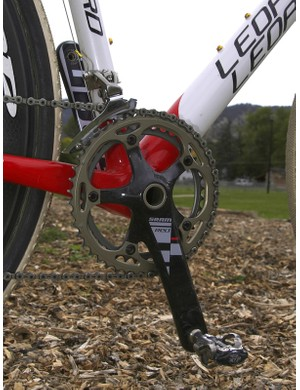 The SRAM Red crankset is fitted with 'cross-appropriate gearing