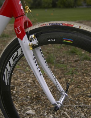 The included carbon fork features a beefy crown and legs for accurate steering and braking