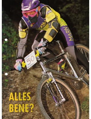 Jurgen Beneke in action in 1993. Yes, there is some rear suspension there - the seatstays were made