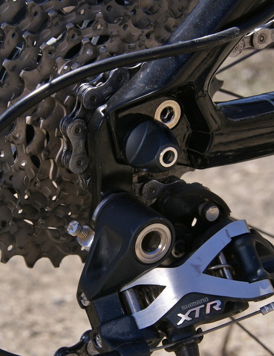 The replaceable rear derailleur hanger is a handy piece of insurance for the inevitable crash.