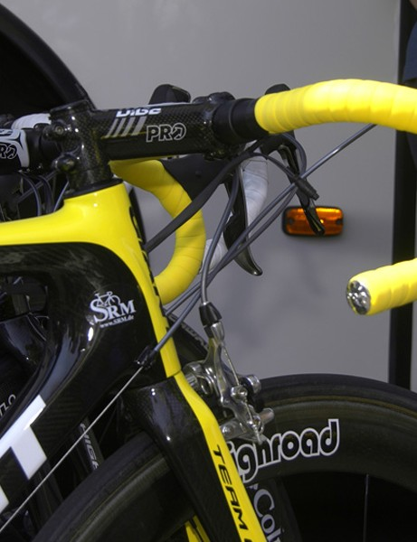 Yellow handlebar tape	is in keeping with the yellow front end.