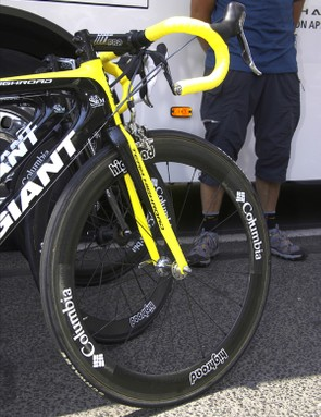All the leading edges on the front of Kirchen's bike are picked out in yellow