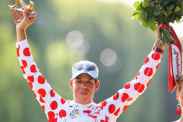 Kohl celebrates his King of the Mountains jersey at the Tour de France