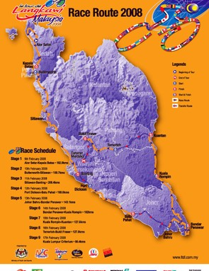 The route of the 2008 Tour de Langkawi