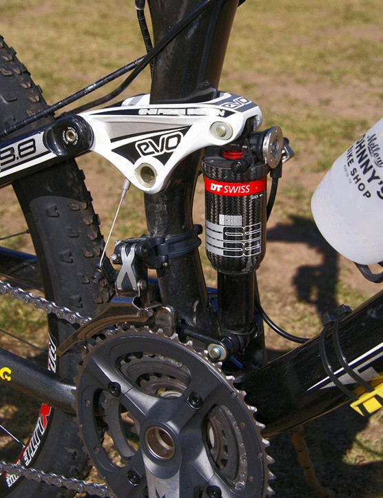 Armstrong went with DT Swiss' ultralight carbon-bodied rear shock for his race machine.