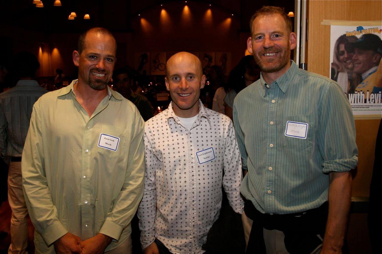 League supporters Peter and Patrick flank special guest Levi Leipheimer at the Mill Valley Community Center November 8.