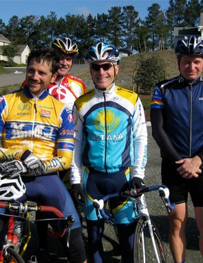 League director Matt Fritzinger (L) poses with Leipheimer (C) in Point Reyes Station.