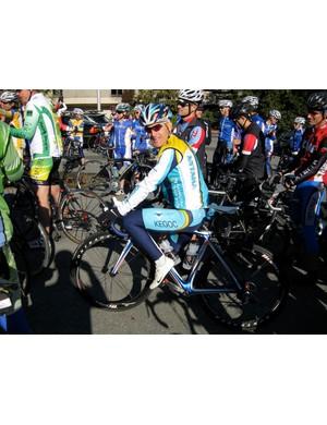 Santa Rosa-based Levi Leipheimer listens to some pre-ride instruction in Kentfield, California November 9.