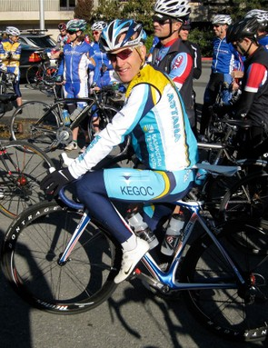 Santa Rosa-based Levi Leipheimer listens to some pre-ride instruction in Kentfield, California November 9.