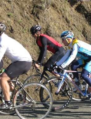 Leipheimer (C) stays nice and protected from the wind during the group ride November 9.