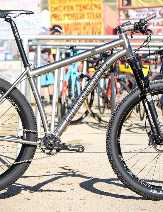 Litespeed's Pinhoti SL trail bike is compatible with 29er or 27.5+ wheels and rubber. Price for the titanium frame is $3,000