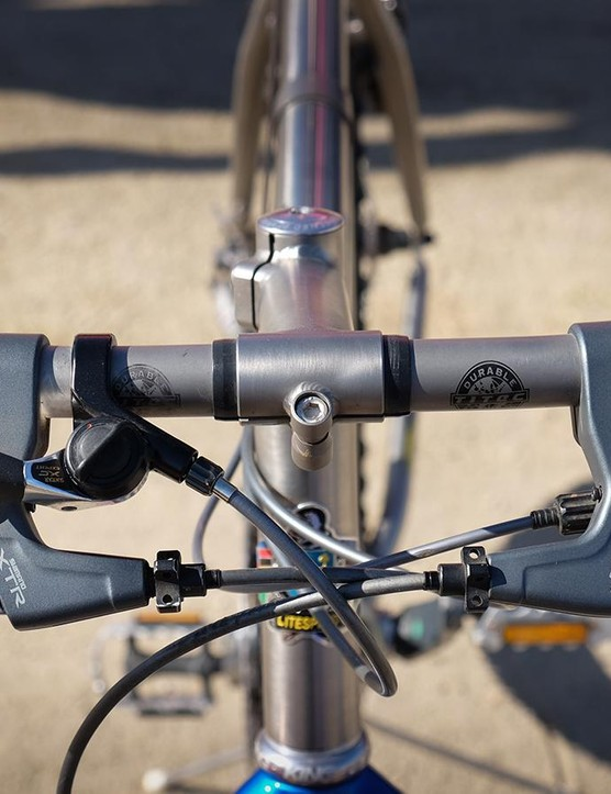 The Tellico has a titanium stem and a narrow Titec handlebar. What's up with those shifters?