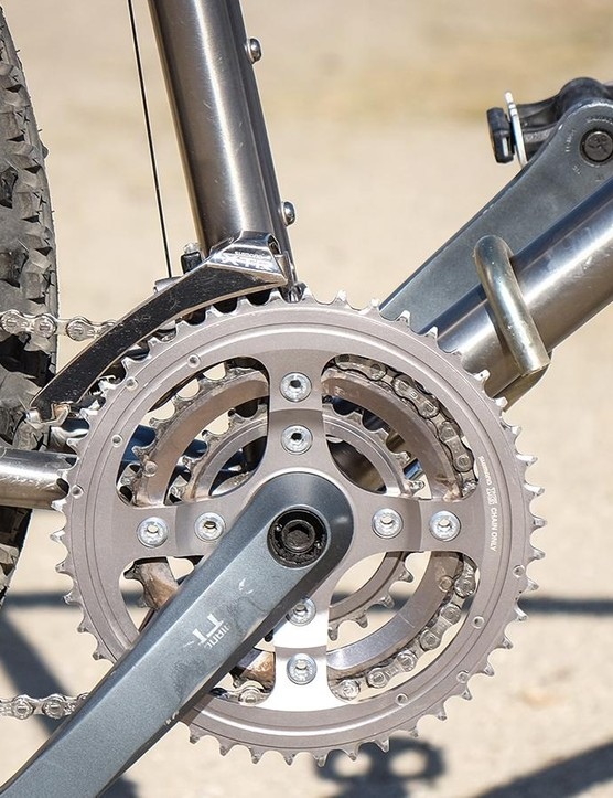 An XTR crankset on the front of the Litespeed Tellico (Look at all those chainrings!)