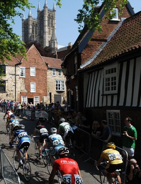 Hitting the cobbled climb once more