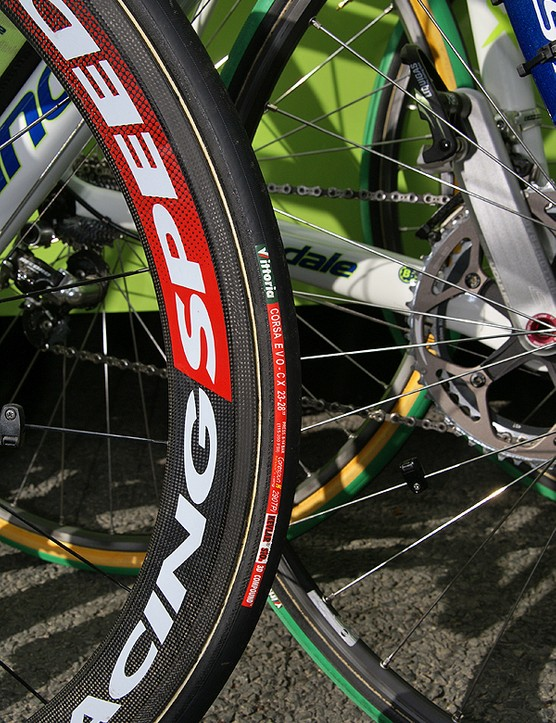...and surprisingly skinny 23mm-wide tires at the start.