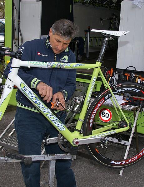 A Liquigas team mechanic preps Pozzato's bike the day before Paris-Roubaix.