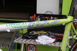 Pippo's flowery theme carries through to the top tube design (and check out the sparkly paint).