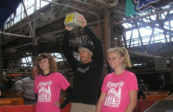 Ibis/Oakley dirt rider Brian Lopes wins the stack of dollar bills in Cleveland, Ohio November 1.