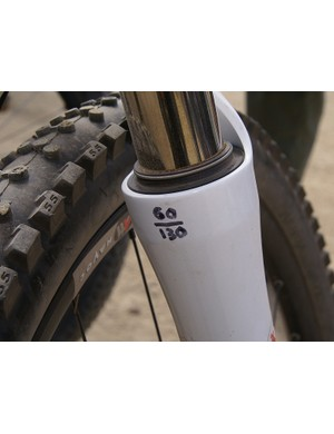 Borrowing from motocross, air pressures are written in permanent marker directly on the fork leg