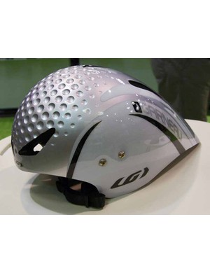 The new Louis Garneau Superleggera time trial helmet features deep dimpling up front.
