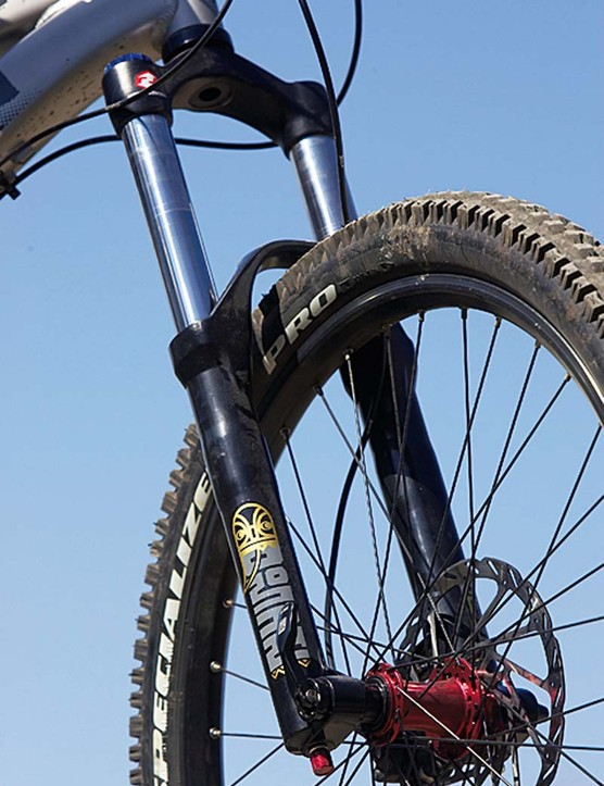 RockShox's Domain 318 fork isn't the smoothest, but it's still a solid performer for the money