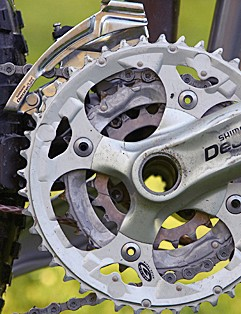 The Shimano Deore chainset is a welcome shifting-improver