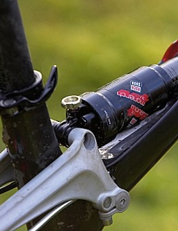 The shock nestles in the top tube, well out of harm's way