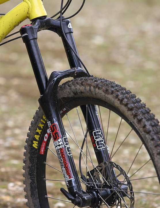 Base model Marzocchi 55 fork takes the hits up front